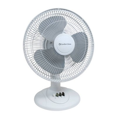 "Comfort Zone 12"" Oscillating Table Fan White"