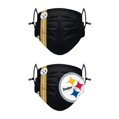 NFL Pittsburgh Steelers Adult Gameday Adjustable Face Covering - 2pk