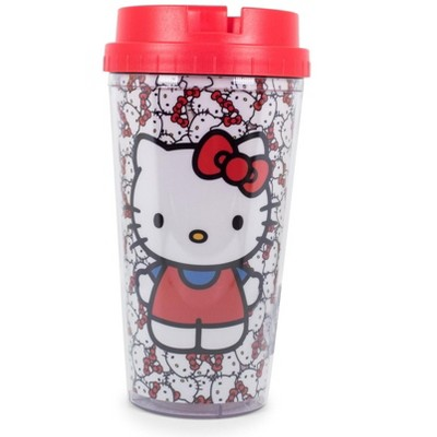 Silver Buffalo Hello Kitty All-Over Faces 16oz Double Wall Plastic Travel Mug