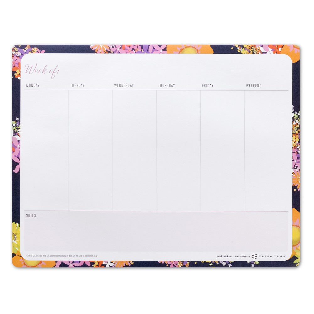 Trina Turk Weekly Sticky Mouse Pad Notes - Bay Street Bloom, Multi-Colored