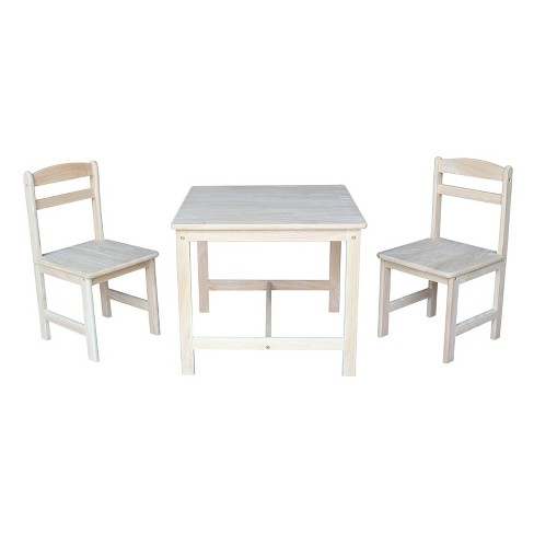International Concepts Set of 3 Kids Table and 2 Chairs Unfinished - International Concepts Set Of 3 Kids Table And 2 Chairs Unfinished