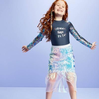 Girls' Mermaid Tail Flip Sequin Swim Cover Up Skirt - More Than Magic™