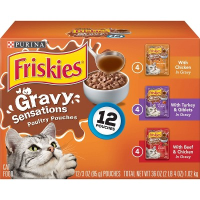 Purina Friskies Gravy Sensations Wet Cat Food Poultry Pouches with Chicken, Turkey & Beef - 3oz/12ct Variety Pack