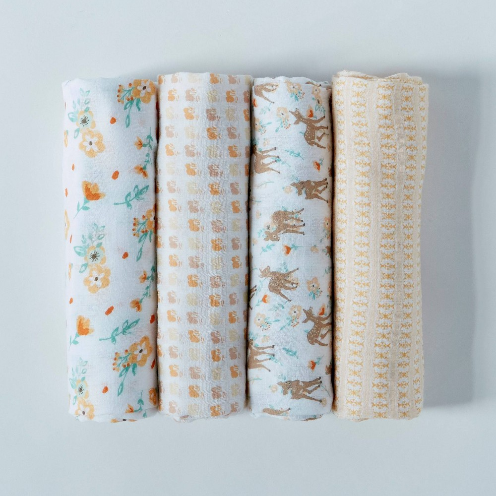 Patina Vie Muslin Swaddle Blanket Set Fawn 4pc