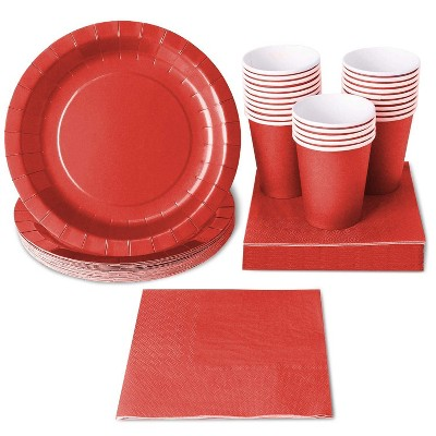 24-Set Xmas Birthday Party Supplies Disposable Paper Tableware Plate Cup Napkin