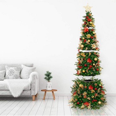 Easy Treezy 18-ET-HIST-55 5.5 Foot Pre-Lit and Pre-Decorated Historic Douglas Fir Artificial Christmas Tree with Easy Assembly, Red and Gold