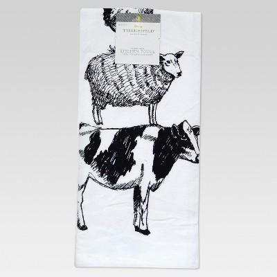 White Farm Animal Flour Sack Kitchen Towel Kitchen Towel - Threshold™