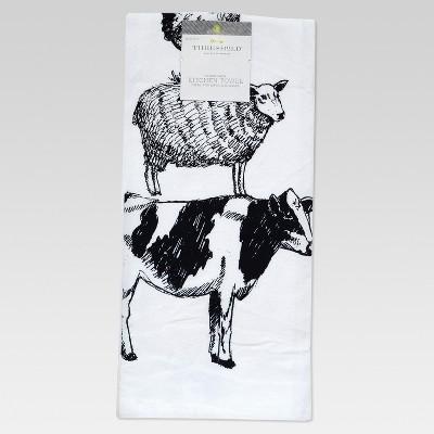 White Farm Animal Flour Sack Kitchen Towel Kitchen Towel - Threshold™