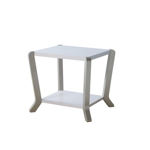 Aguilera Contemporary Faux Croc Leather End Table White/Crocodile Silver - HOMES: Inside + Out - image 1 of 3