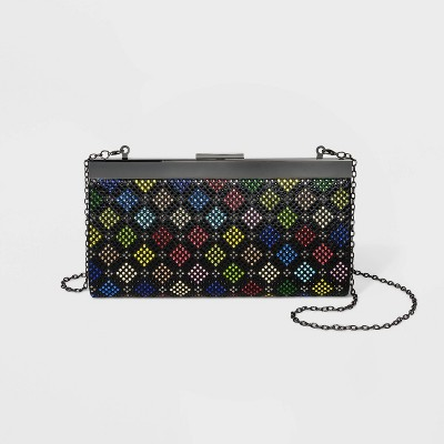 Estee & Lilly Diamond Crystal Metal Clasp Closure Frame Clutch - Black