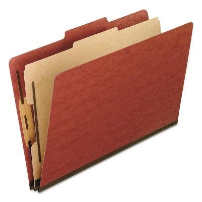 Pendaflex Four-Section Pressboard Folders Legal 2/5 Tab Red 10/Box 2157R