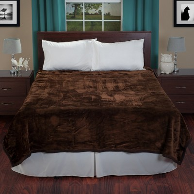 Yorkshire Home Solid Soft Heavy Thick Plush Mink Blanket - Coffee (Queen)