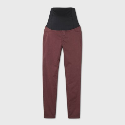 Maternity Crossover Panel Skinny Jeans - Isabel Maternity by Ingrid & Isabel™ Burgundy
