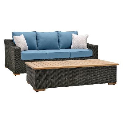 Charmant La Z Boy Outdoor New Boston 2pc Wicker Outdoor Sofa U0026 Coffee Table Set With  Sunbrella Spectrum Denim Cushion