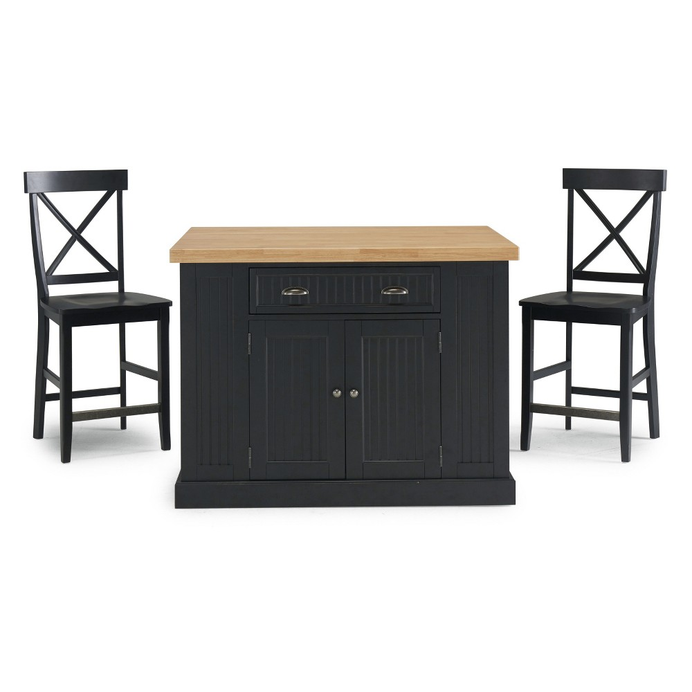 Nantucket Solid Wood Top Kitchen Island and 2 Counter Stools Black - Home Styles
