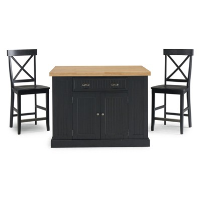 Delicieux Nantucket Solid Wood Top Kitchen Island And 2 Counter Stools Black   Home  Styles