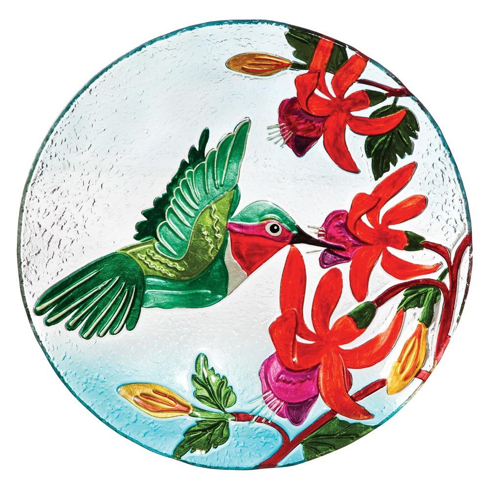 2.50 H Glass Birdbath - Evergreen, Multi-Colored