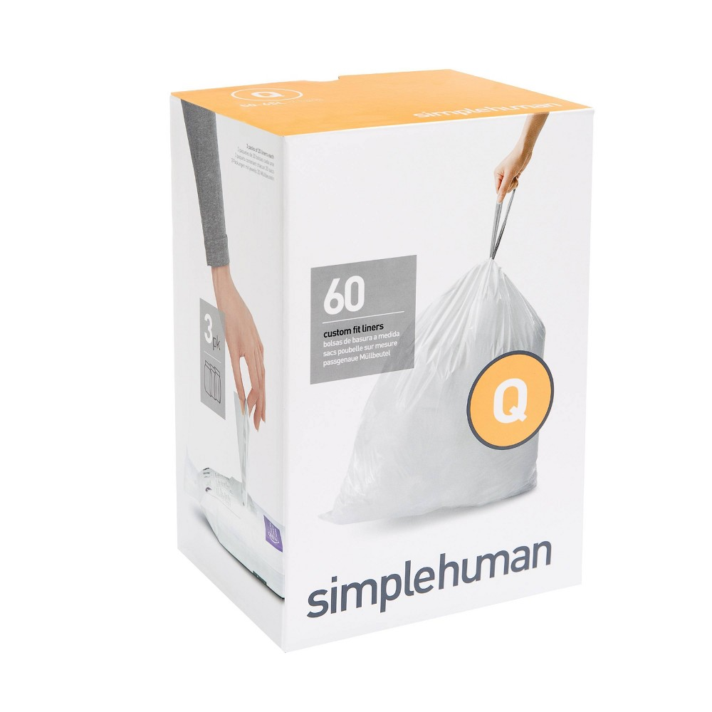 Image of simplehuman 50-65 ltr Code Q Custom Fit 60ct Trash Can Liner