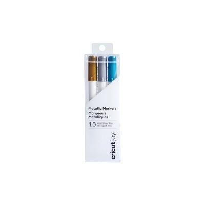 Cricut Joy 3pk 1.0 Point Metallic Markers Gold/Silver/Blue