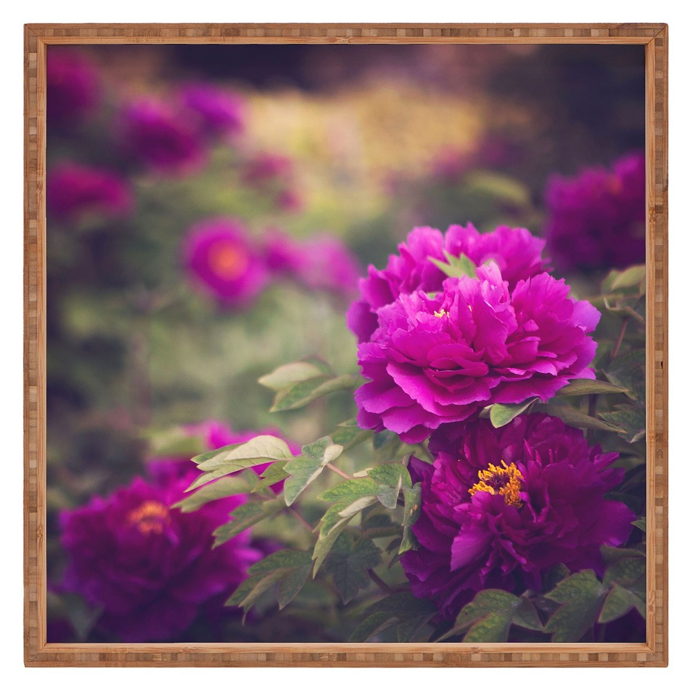 Catherine McDonald Peony Garden At Dayan Pagoda Square Tray - Purple - Deny Designs, Raspberry Verbena