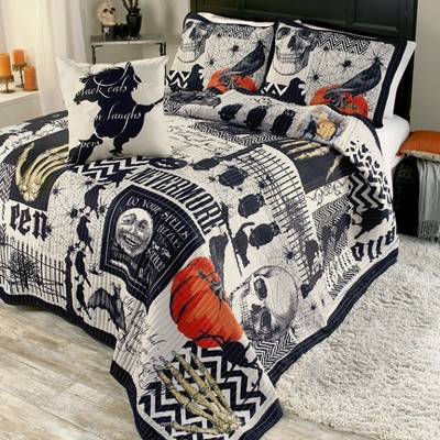 Lakeside Nevermore Halloween Quilt Set with Pillow Shams - 4 Pieces