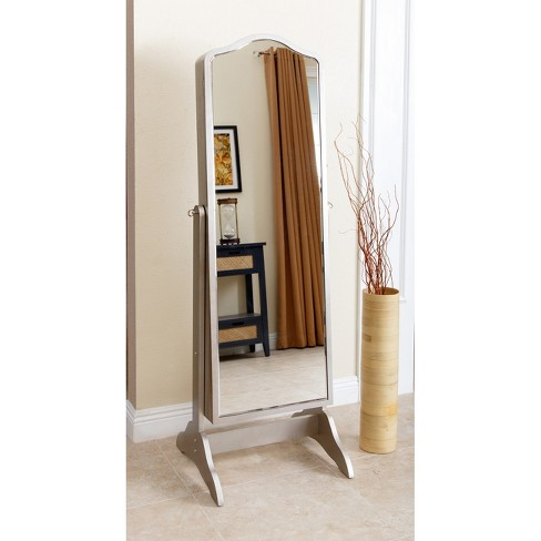 Merlo Floor Standing Mirror And Jewelry Armoire Silver Abbyson Target