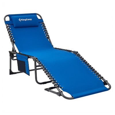 KingCamp KC2019 Portable 4 Positions Folding Cot Patio Reclining Lounger Chair w/ Support Pillow & Side Pocket, Supports 265 Pounds