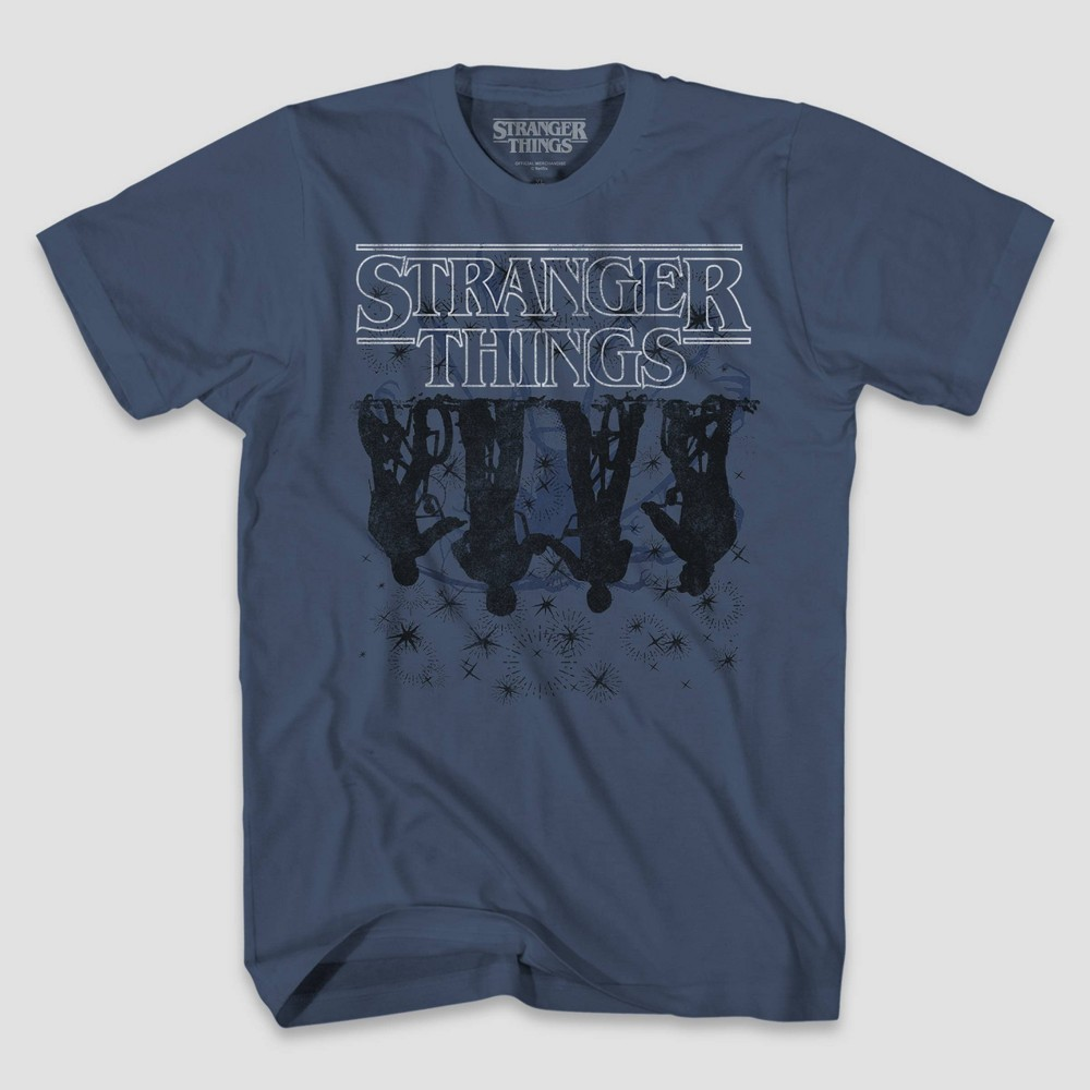 Image of Men's Stranger Things Stranger Ride A Bike Short Sleeve Graphic T-Shirt - Blue 2XL, Men's