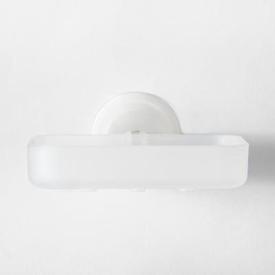 Power Lock Lever Suction Soap Dish White   Room Essentials™