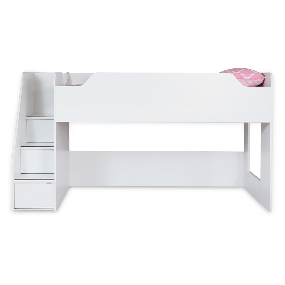 Mobby Loft Bed with Stairs - Twin - Pure White - South Shore