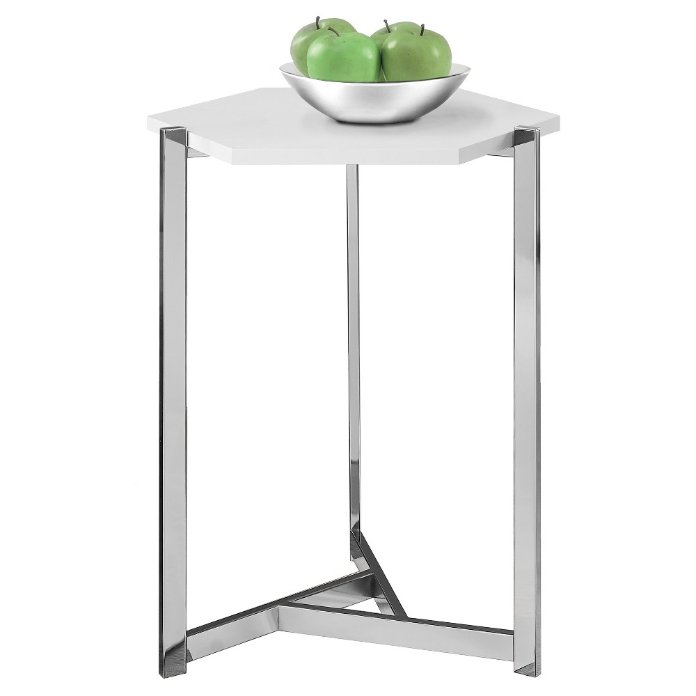 Accent Table - Hexagon Design - Chrome Metal, Glossy White - EveryRoom