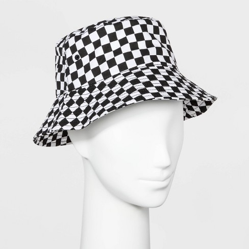 454d75534 Women's Plaid Checkered Bucket Hat - Wild Fable™ Black