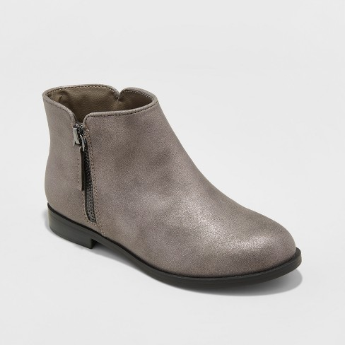 Girls' Jani Metallic Ankle Fashion Boots - Cat & Jack™ Pewter 6 - image 1 of 3