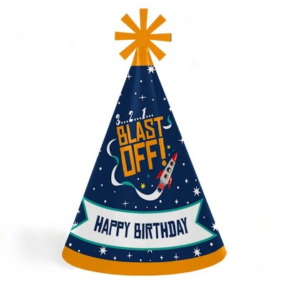 Big Dot of Happiness Blast Off to Outer Space - Cone Happy Birthday Party Hats for Kids and Adults - Set of 8 (Standard Size)