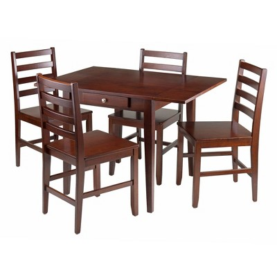 5pc Hamilton Drop Leaf Dining Set with Ladder Back Chairs Wood/Walnut- Winsome