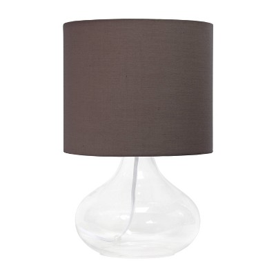 Clear Glass Raindrop Table Lamp with Fabric Shade Gray - Simple Designs