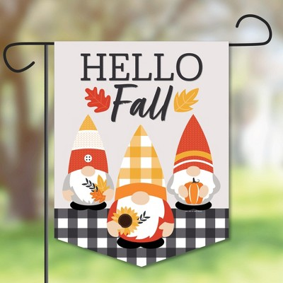 Big Dot of Happiness Fall Gnomes - Outdoor Lawn and Yard Home Decorations - Autumn Harvest Party Garden Flag - 12 x 15.25 inches