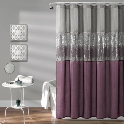 Night Sky Shower Curtain Gray/Purple - Lush Décor