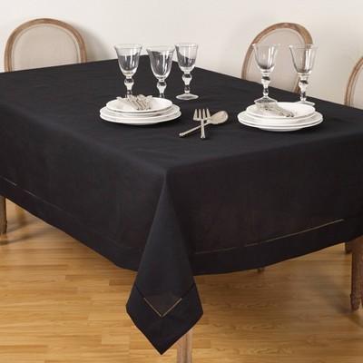 "70""x104"" Tablecloth with Hemstitch Border Design Black - Saro Lifestyle"