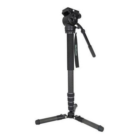 VariZoom Chikenfoot Carbon Fiber 4-Section Monopod with Fluid Head and Fold-Down Tripod Foot - Supports 25 lbs, Fluid Head 10 lbs, Tilting - image 1 of 4
