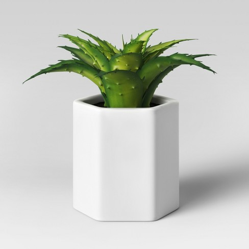 Artificial Small Aloe Plant with White Pot - Project 62™ - image 1 of 1