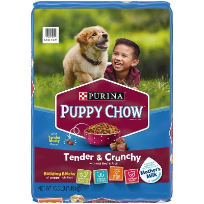 Purina Puppy Chow Tender & Crunchy with Real Beef & Rice Dry Dog Food - 16.5lbs