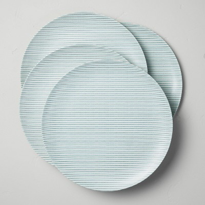 Bamboo Melamine Ticking Stripes Dinner Plate Teal - Hearth & Hand™ with Magnolia