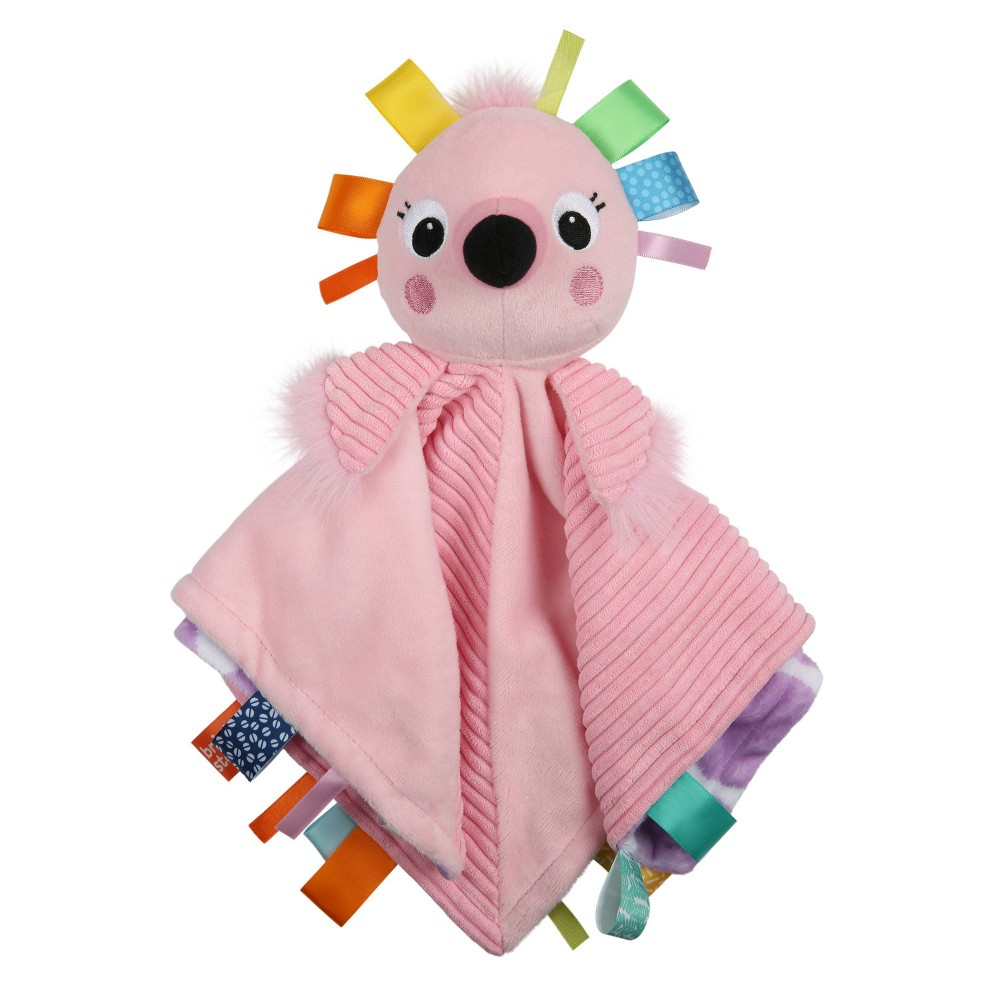 Image of Bright Starts Cuddle 'n Tags 2-sided Lovie - Flamingo