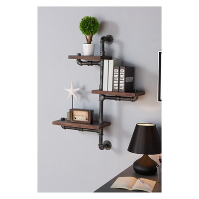 Orton Industrial Pine Wood Floating Wall Shelf 30  in Gray and Walnut Finish - Armen Living