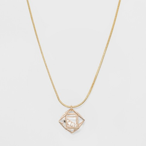 "Caged Stone Long Necklace (34"") - A New Day™ Gold/Rose Gold - image 1 of 3"