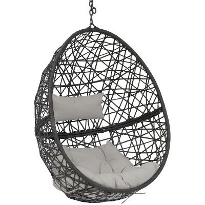 Caroline Resin Wicker Hanging Egg Chair with Gray Cushions - Sunnydaze Decor