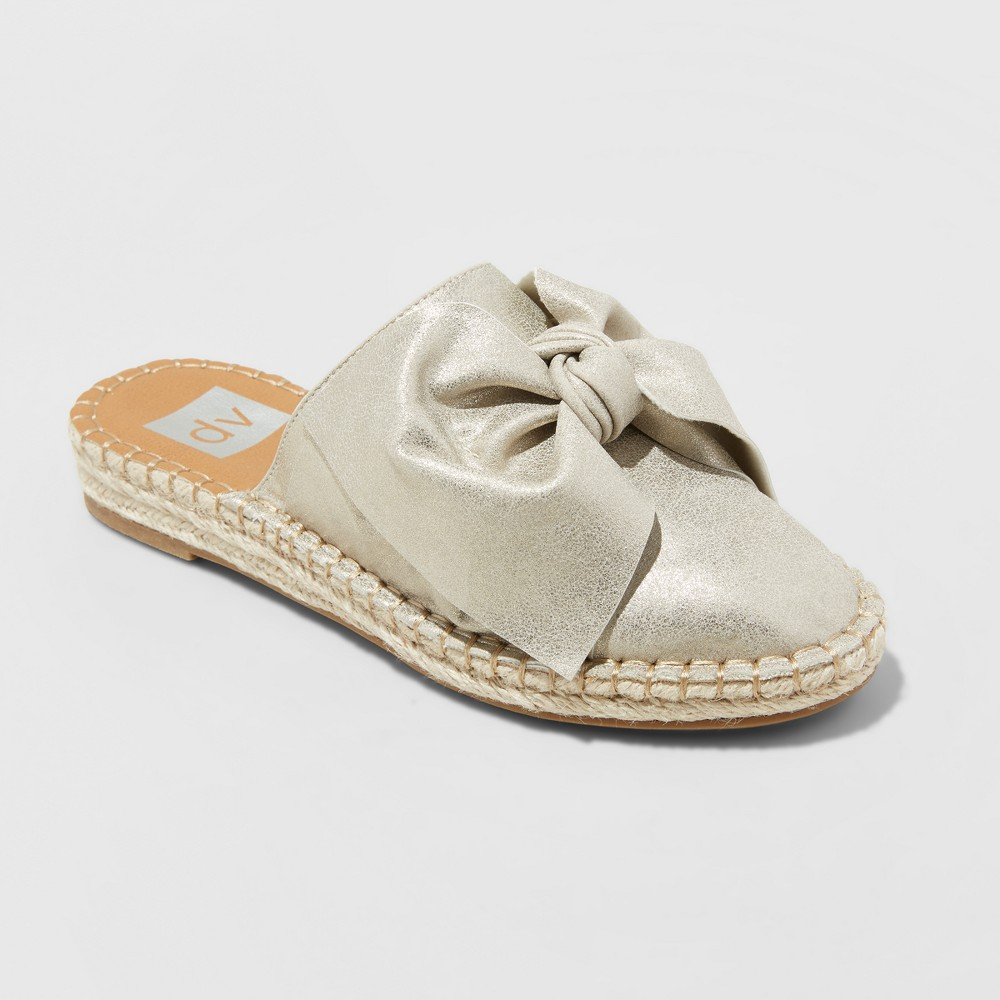 Women's dv Desirae Wide Width Bow Espadrilles Mules - Gold 6W, Size: 6 Wide