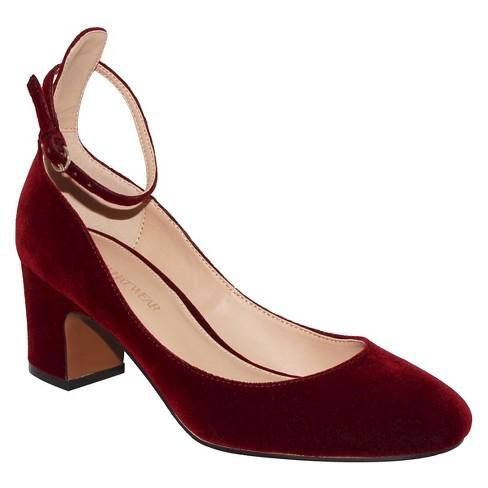 38698f9a3383e Women's Angelique Velvet Quarter Strap Pumps - Who What Wear™ Wine 9.5 :  Target