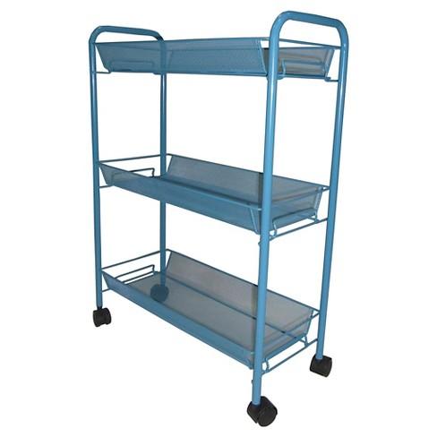3 Tier Mesh Basket Rolling Utility Storage Cart Teal - Room Essentials™ - image 1 of 1